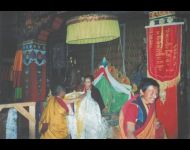 Tibet -Offering Ceremony at Main Temple in Mardo Tashi Choeling Monastery