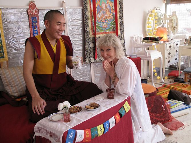 Rinpoche with Student in Israel